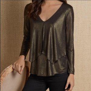 Soft Surroundings Metallic Knit Top Size Large